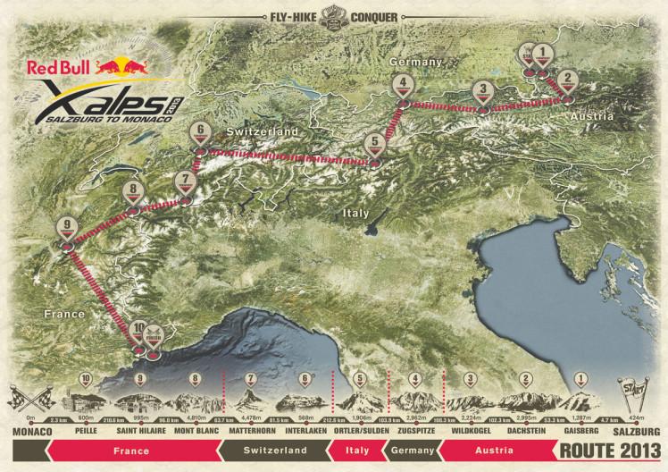 Trasa wyścigu X-Alps 2013